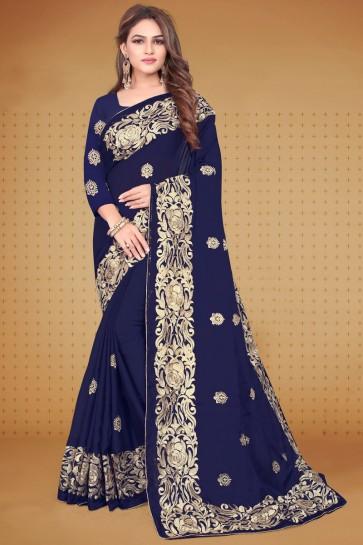 Rangoli Fabric Navy Blue Sequins Work Designer Saree And Blouse