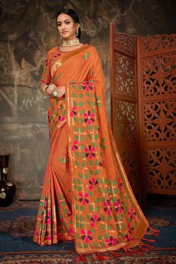 Orange Silk And Linen Fabric Embroidered And Jacquard Work Designer Saree And Blouse