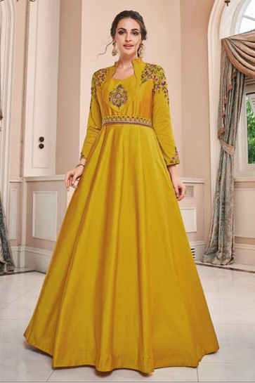 Designer Yellow Embroidered Silk Gown