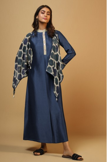 Pretty Blue Silk Printed Kurti
