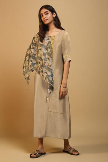 Gorgeous Begie Silk Printed Kurti