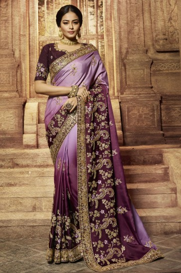 Wedding Wine Wear Embroidered Banarasi Silk Saree And Blouse