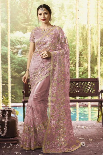 Net Fabric Embroidery And Stone Work Designer Wine Saree And Blouse