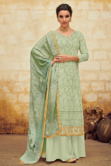 Gorgeous Faux Georgette Embroidered Pista Plazzo Suit With Chiffon Dupatta