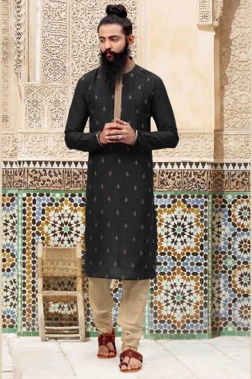 Classic Black Silk Fabric Thread Work Kurta Pajama