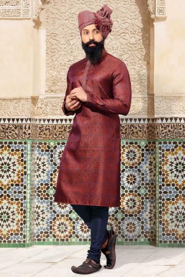 Delicate Jacquard Fabric Maroon Thread Work Kurta Pajama