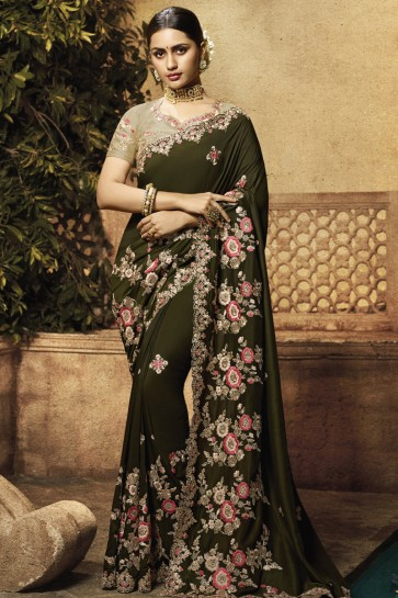 Mehendi Green Muslin Fabric Embroidered And Border Work Saree With Silk Blouse
