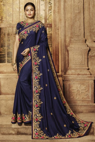 Stunning Royal Blue Silk Fabric Designer Border And Embroidery Work Saree And Blouse