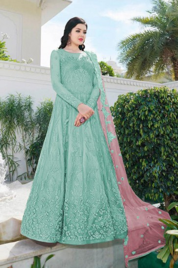 Designer Sky Blue Embroidered Net Abaya Style Anarkali Suit