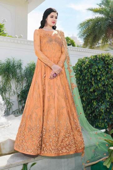 Orange Net Embroidered Abaya Style Anarkali Suit With Net Dupatta