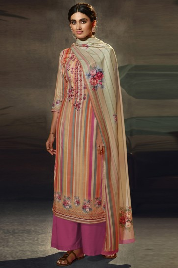 Wool Pashmina Embroidered and  Printed Designer Multi Color Plazzo Suit WithWool Pashmina Dupatta