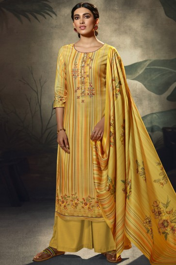Yellow Embroidered and  Printed Wool Pashmina Embroidered Plazzo Suit WithWool Pashmina Dupatta