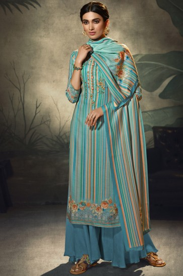 Embroidered and  Printed Wool Pashmina Blue  Plazzo Suit WithWool Pashmina Dupatta