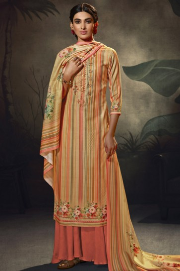 Wool Pashmina Multi Color Embroidered and  Printed Plazzo Suit WithWool Pashmina Dupatta