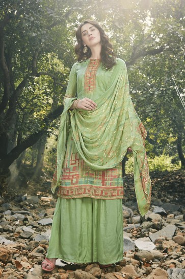 Green Georgette Satin Embroidered And Digital Print Plazzo Suit And Dupatta