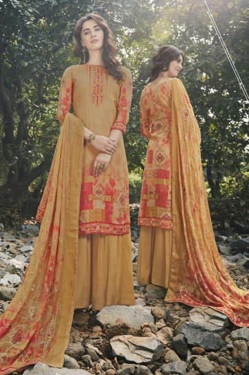 Embroidered And Digital Print Mustard Georgette Satin Fabric Plazzo Suit And Dupatta
