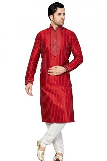 Charming Red Embroidered Designer Kurta Pajama