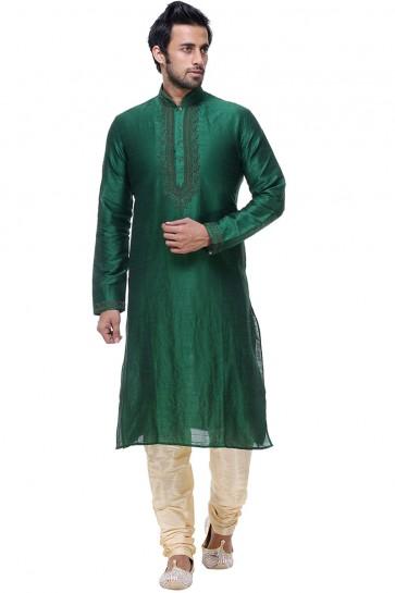 Green Thread Work Designer Kurta Pajama