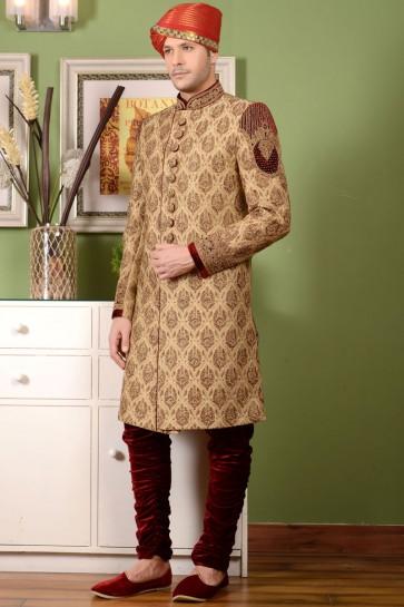 Pretty Golden Embroidered Wedding Sherwani