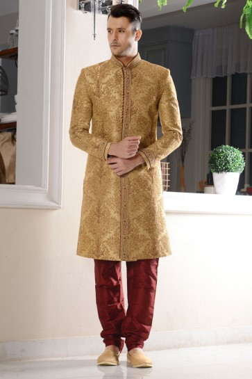 Marvelous Golden Embroidered Designer Sherwani