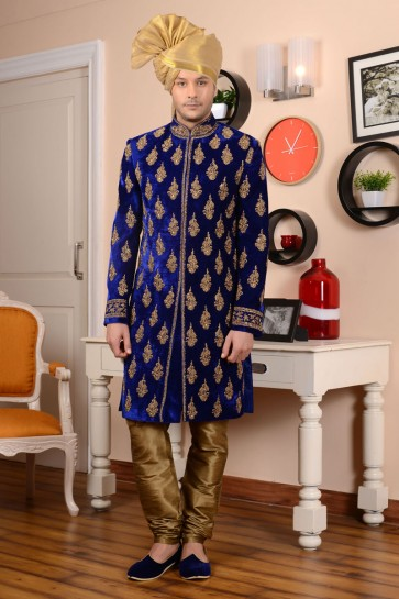 Desirable Blue Velvet Embroidered Wedding Sherwani