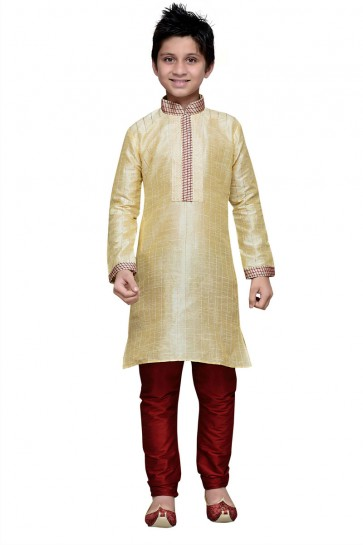 Beautiful Golden Art Silk Designer Kurta Pajama