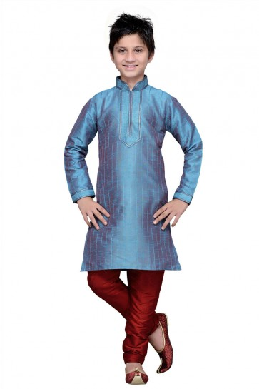 Turquoise Art Silk Embroidered Designer Kurta Pajama