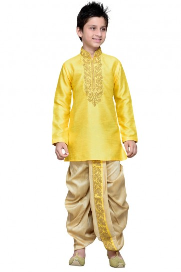 Yellow Art Silk Embroidered Designer Kurta Pajama