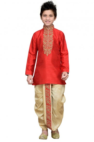 Charming Red Art Silk Designer Kurta Pajama