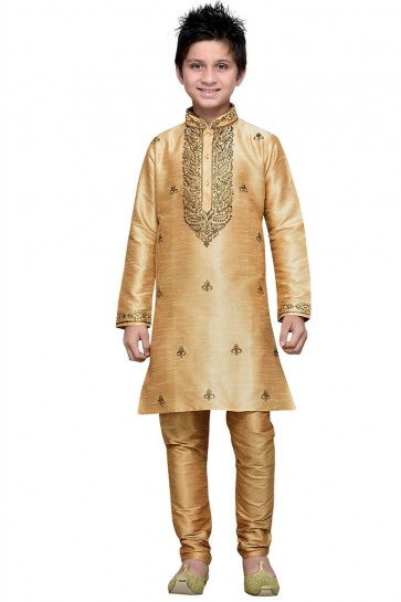 Golden Art Silk Embroidered Designer Kurta Pajama