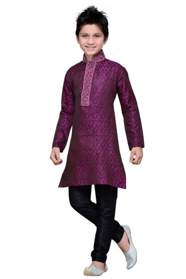 Purple Brocade Embroidered Kurta Pajama