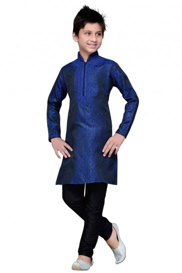Blue Embroidered Brocade Designer Kurta Pajama
