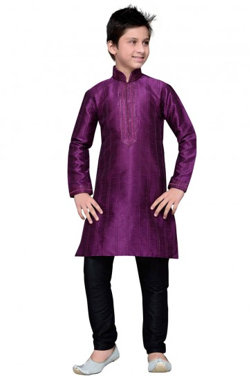 Pretty Purple Thread Work Designer Kurta Pajama