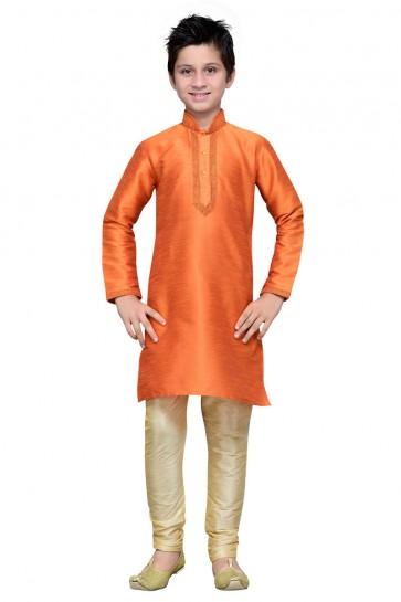 Admirable Orange Embroidered Art Silk Designer Kurta Pajama