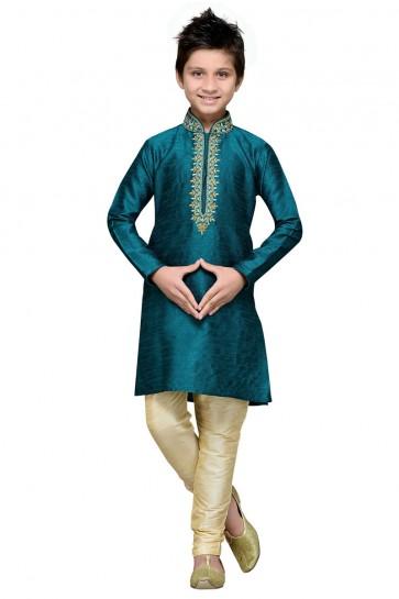 Excellent Turquoise Art Silk Embroidered Designer Kurta Pajama
