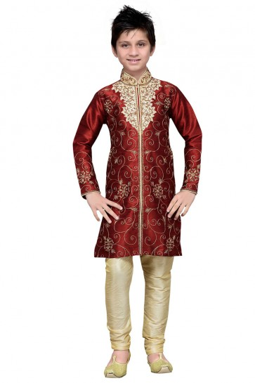 Optimum Maroon Embroidered Designer Kurta Pajama