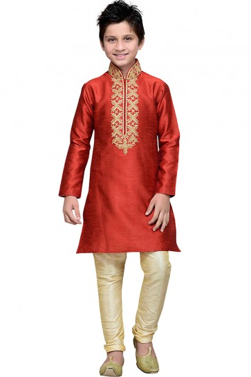 Supreme Red Art Silk Embroidered Designer Kurta Pajama