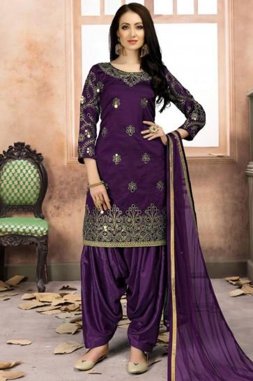 Purple Silk Embroidered Designer Patiala Salwar Suit