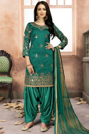 Embroidered Green Silk Designer Patiala Salwar Suit