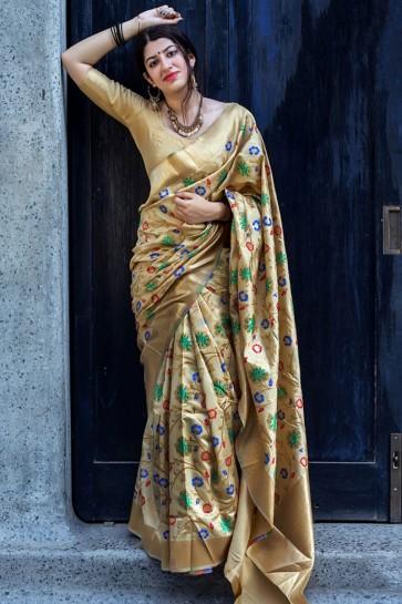 Golden Silk Embroidered Designer Saree With Silk Blouse