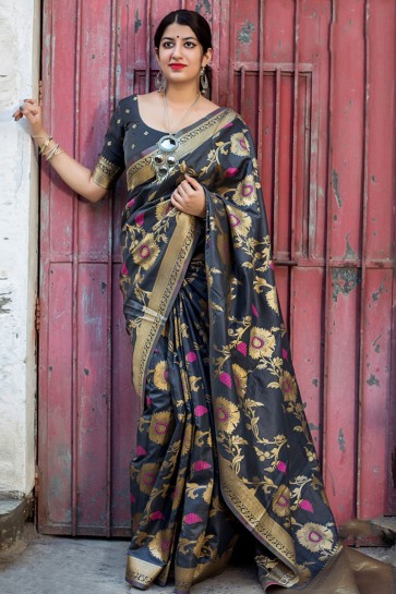 Stylish Black Silk Embroidered Saree With Embroidered Blouse