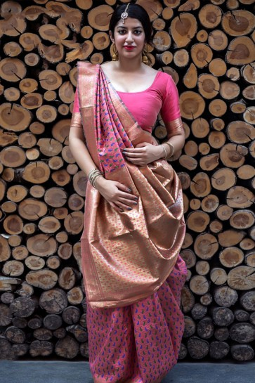 Pink Embroidered Silk Designer Saree With Silk Blouse