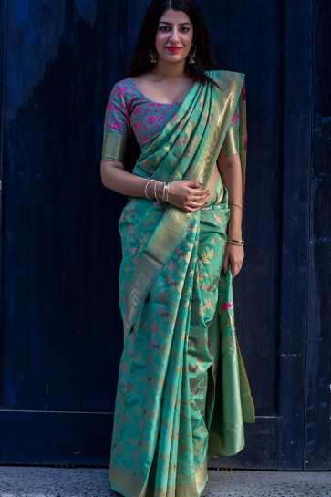 Lovely Turquoise Silk Embroidered Saree With Embroidered Silk Blouse