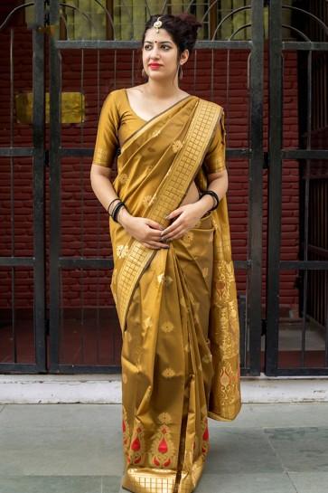 Mustard Silk Embroidered Designer Saree With Silk Blouse