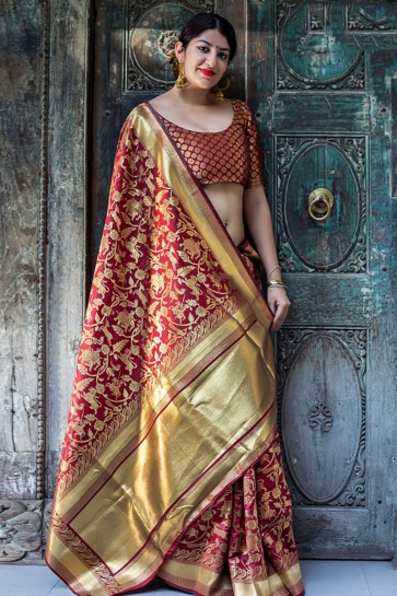 Red Embroidered Silk Saree With Embroidered Blouse