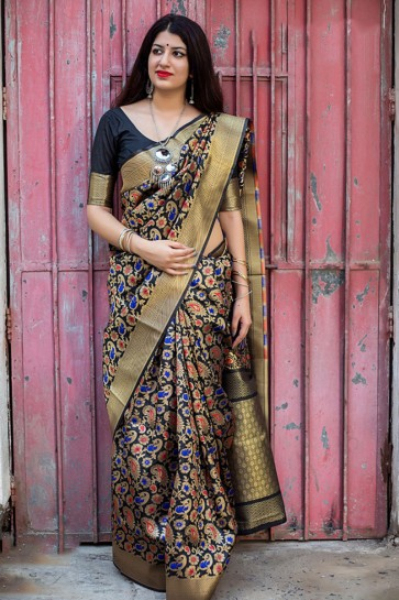 Admirable Black Embroidered Silk Saree With Silk Blouse