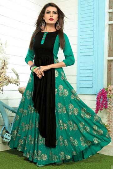 Classic Green Rayon Designer Salwar Suit