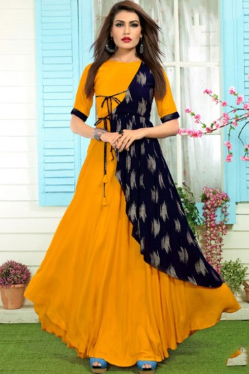 Printed Orange Rayon Designer Salwar Suit