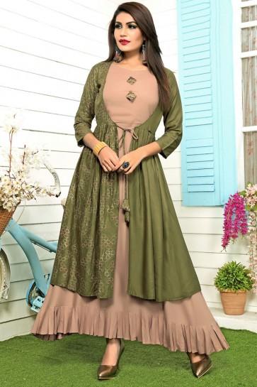 Charming Green and Brown Rayon Printed Salwar Kameez