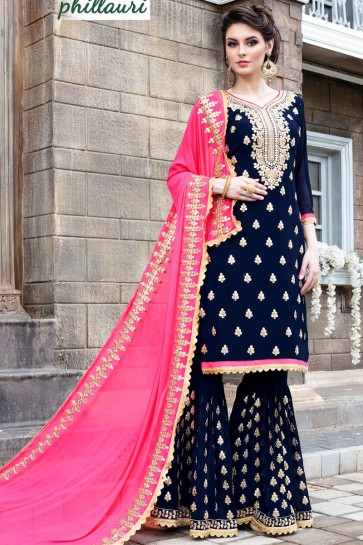 Beautiful Blue Georgette Embroidered Sharara Plazo Salwar Suit With Nazmin Dupatta